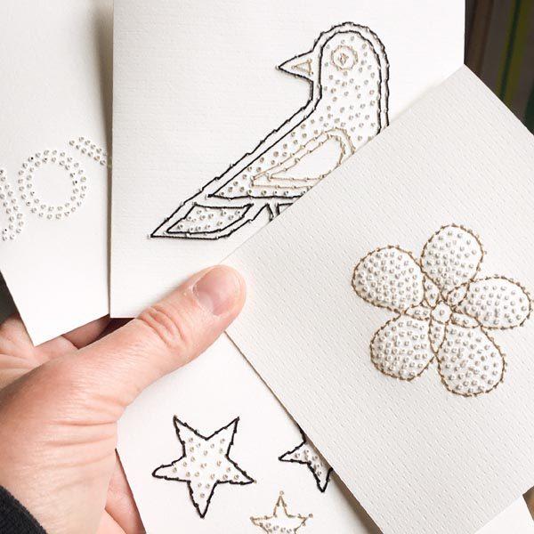 cartes brodées noël